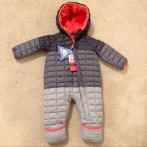 Snozu Grey and Orange Infant Snow Suit with Cuffs